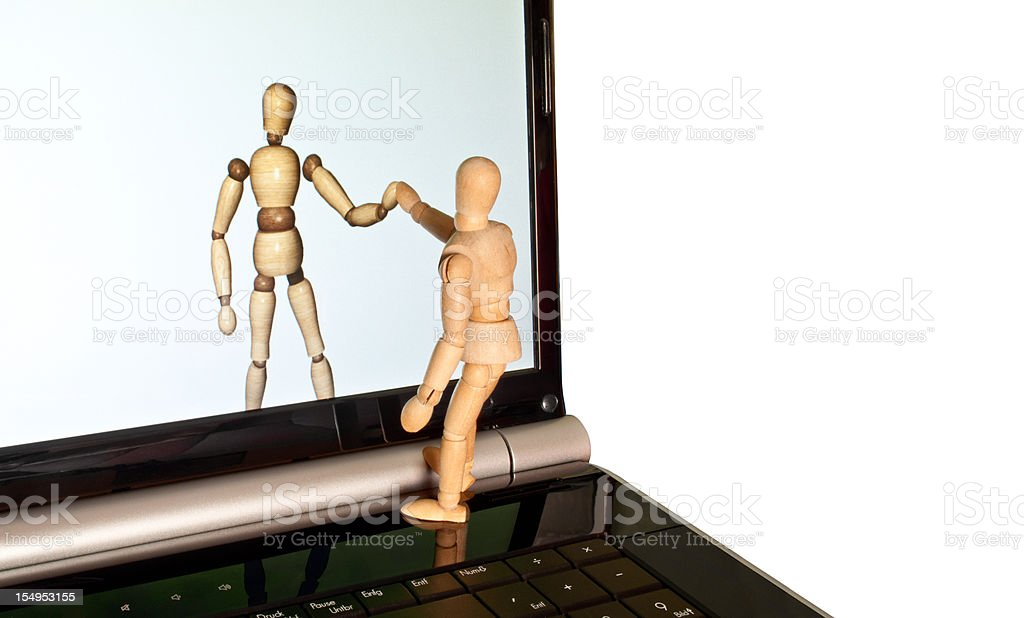 virtual reality - wooden mannequin and the other side stock photo
