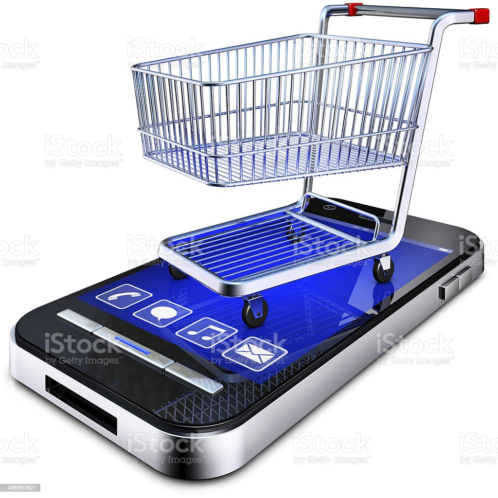 Virtual shopping concept with shopping cart on smartphone royalty-free stock photo