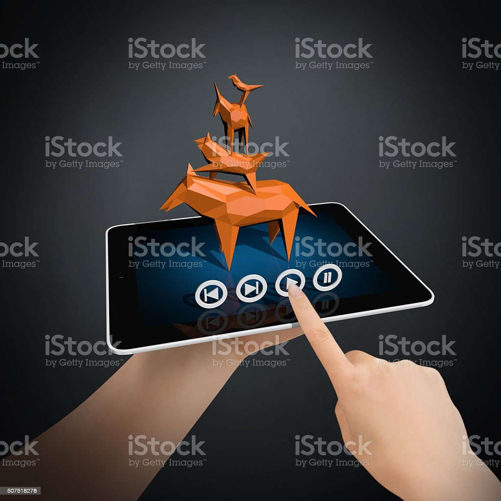 Virtual Story on New Generation Tablet PC stock photo