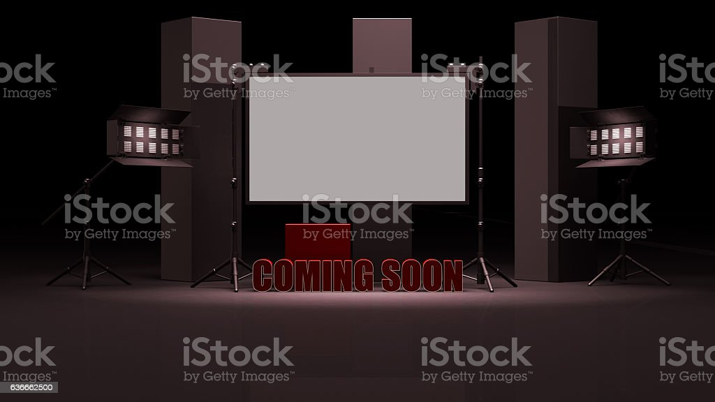 Virtual studio set with coming soon sign 3d render stock photo