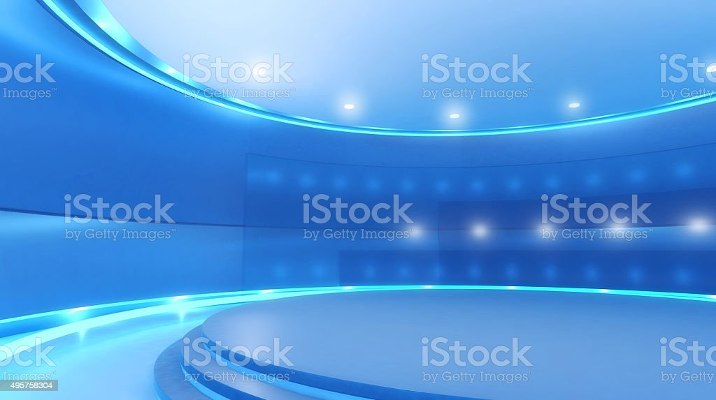 Virtual television set: studio background with stage and blue lights stock photo