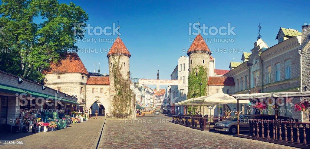 Viru gate in old Tallinn stock photo