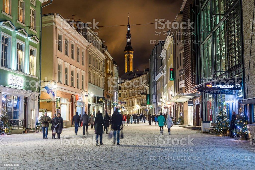 Viru Street and Tallinn Town Hall stock photo
