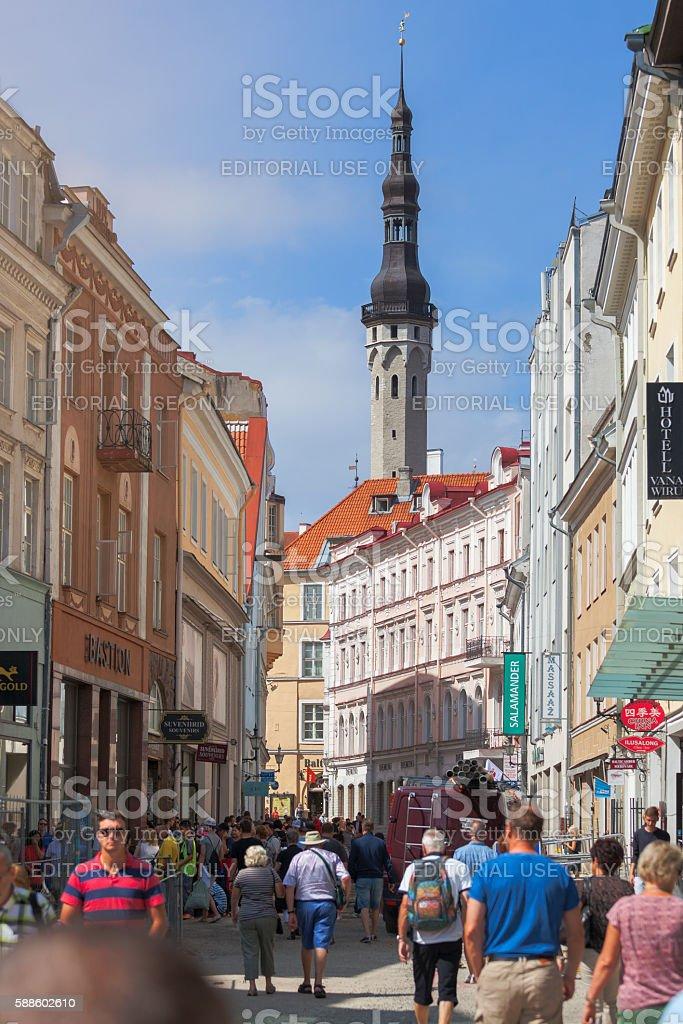 Viru street in Tallinn stock photo