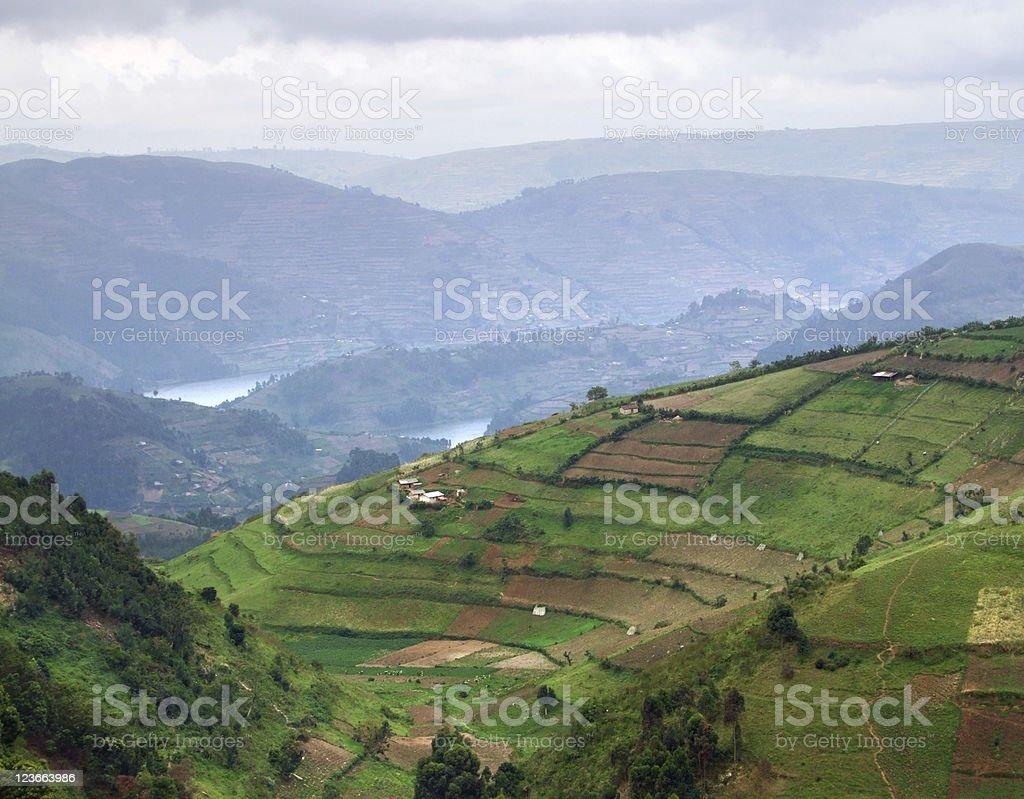 Virunga Mountains aerial view stock photo