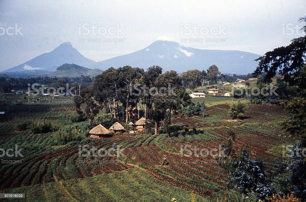 Virunga Mountains and African Agricultural Landscape mid-1980s Rwanda Africa stock photo