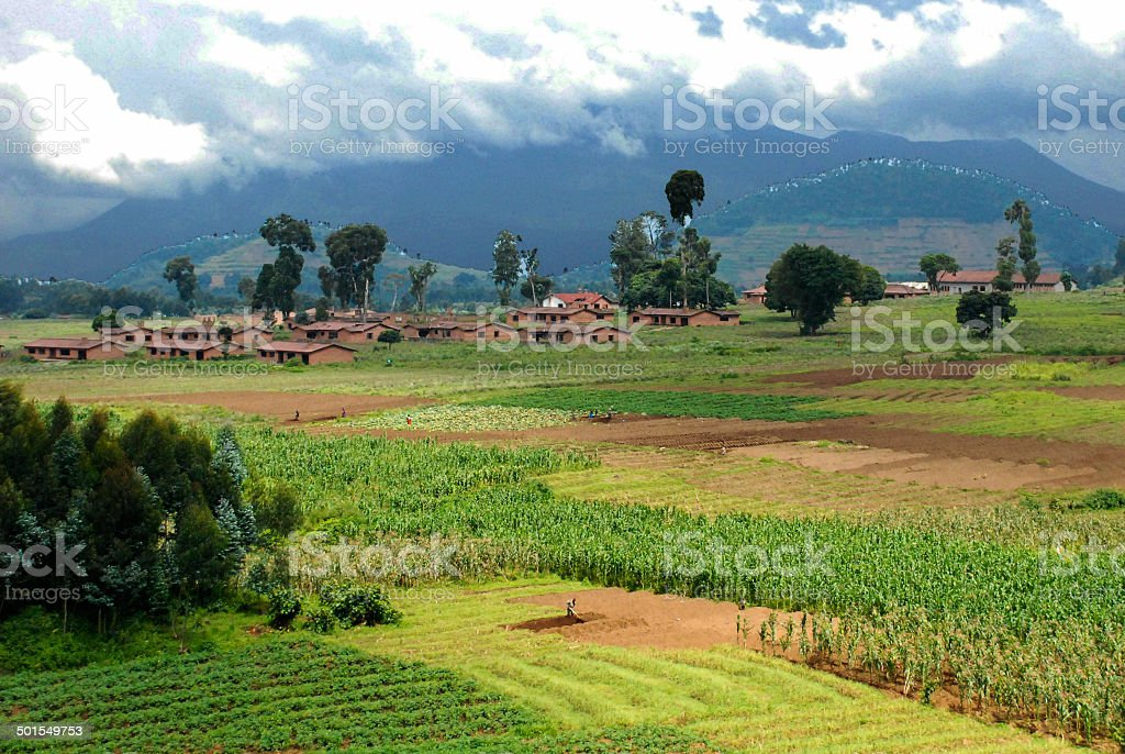 Virunga volcanoes around Mudende Mugongo Rwanda Central Africa stock photo