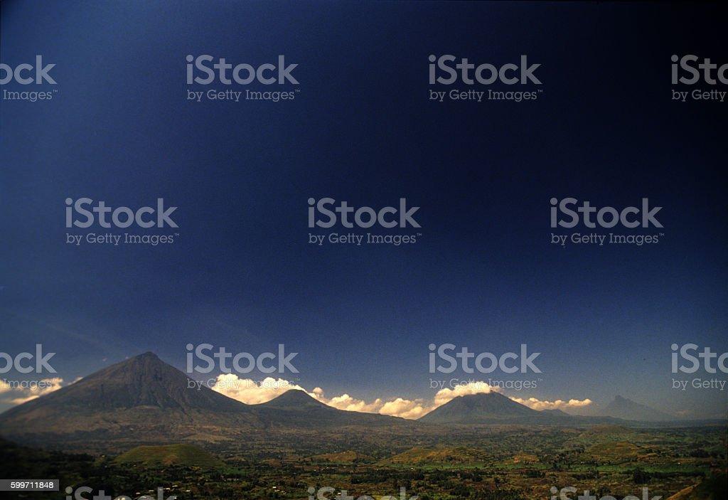 Virungas volcanoes viewed from Kisoro, Uganda stock photo