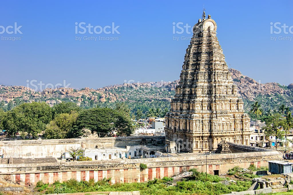 Virupaksha Temple, Hampi, India. stock photo