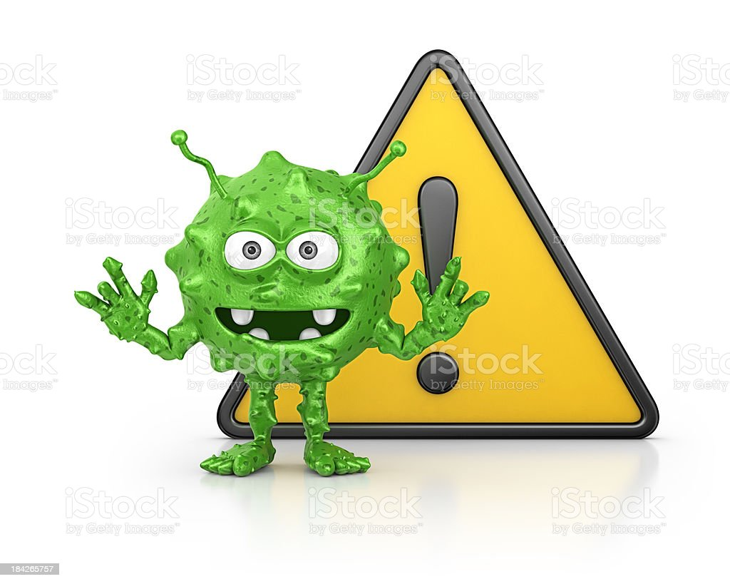 virus and warning sign royalty-free stock photo