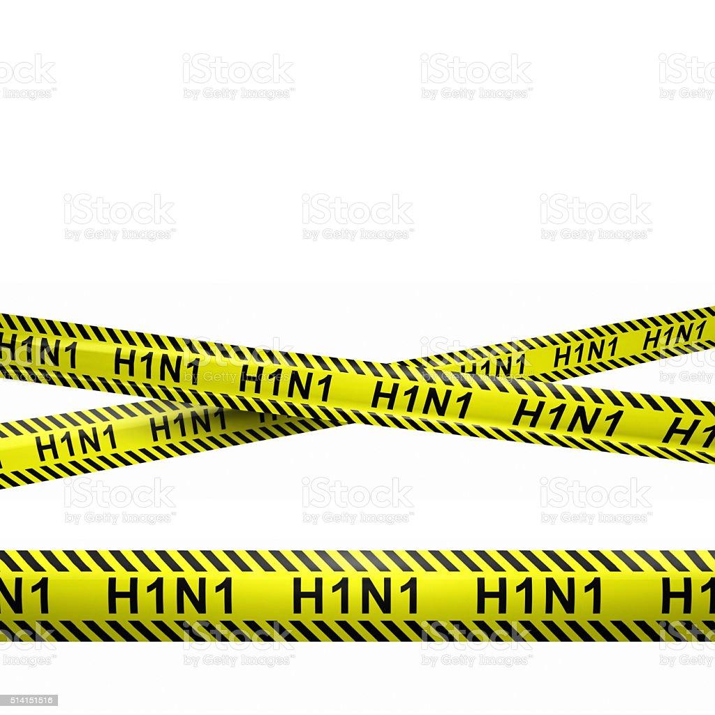 H1N1 Virus Caution Stripes Illustration stock photo
