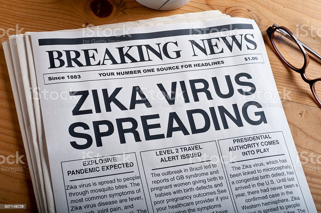 ZIKA virus headlines stock photo
