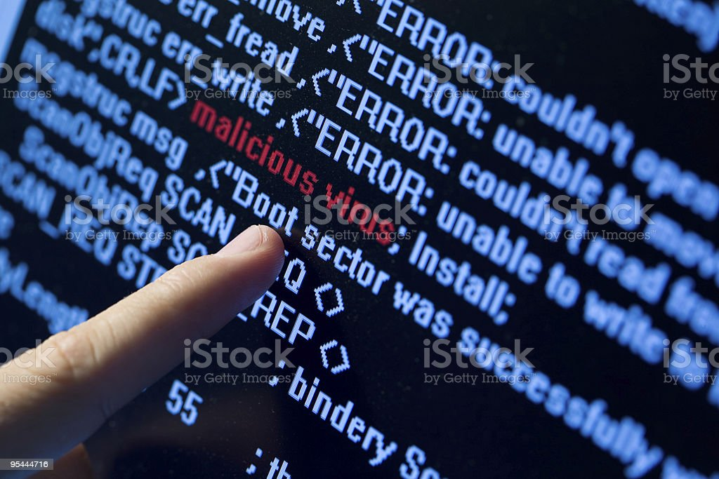 Virus in program code stock photo