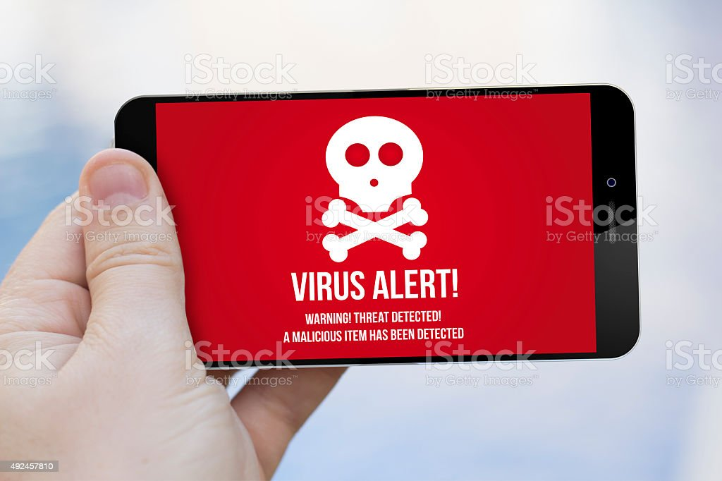 virus on a cell phone stock photo
