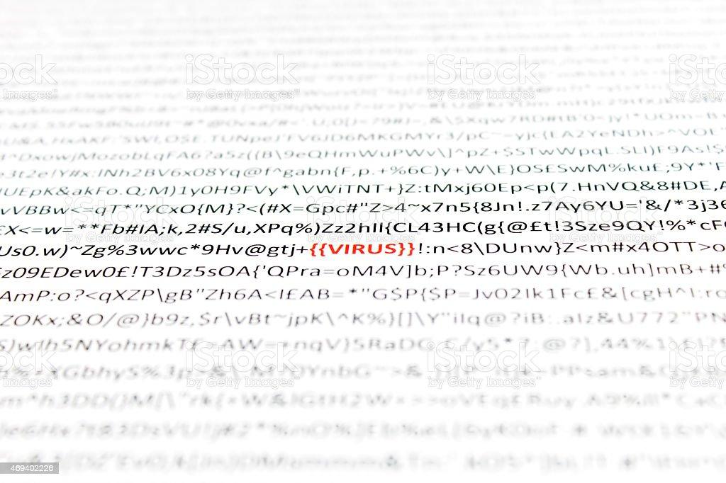 Virus - Red word Virus hidden amongst computer text stock photo