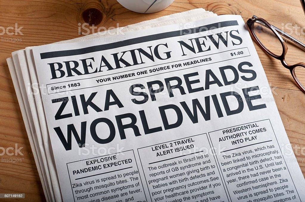 ZIKA virus speading worldwide headlines stock photo