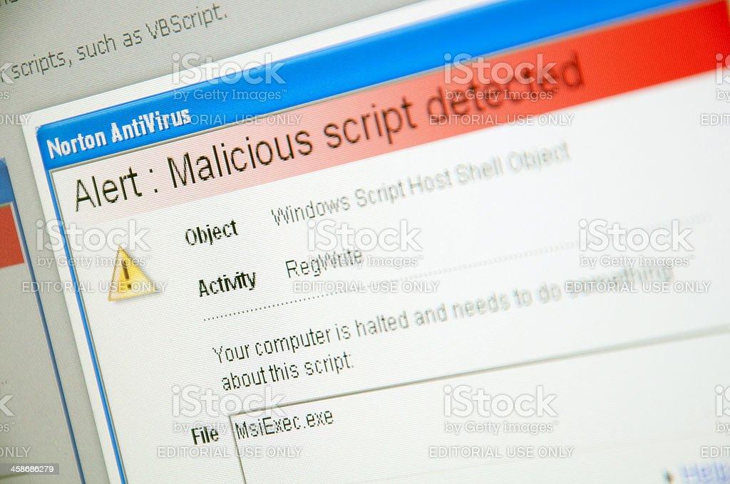 Virus warning on computer screen. stock photo