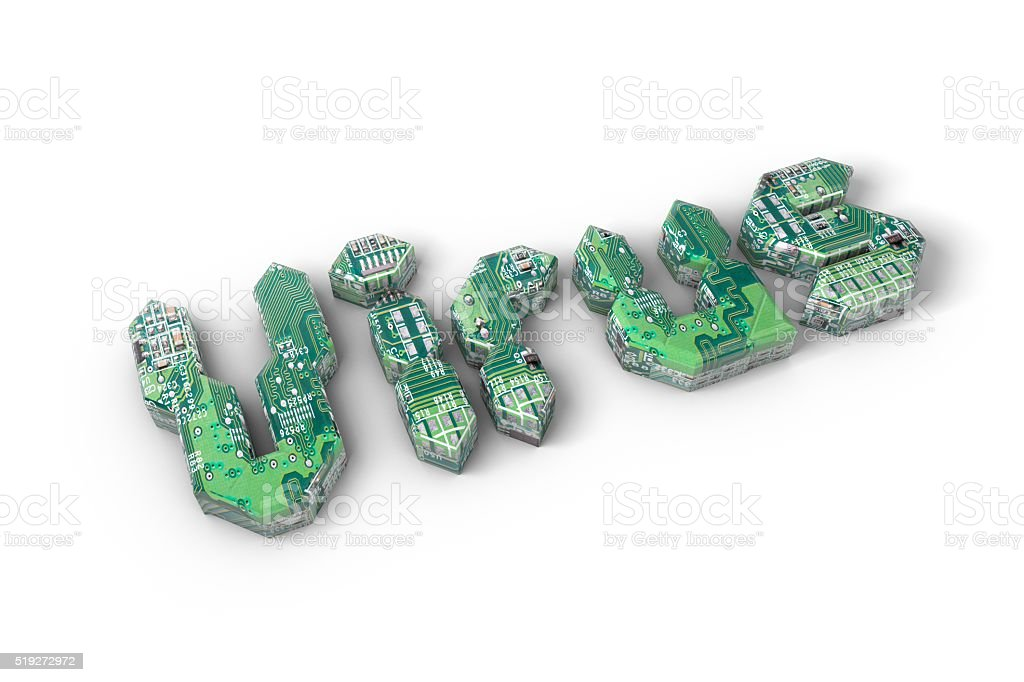 Virus word made from a circuit board stock photo