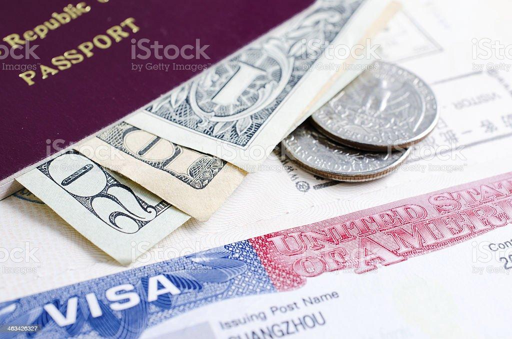 US visa and dollar royalty-free stock photo