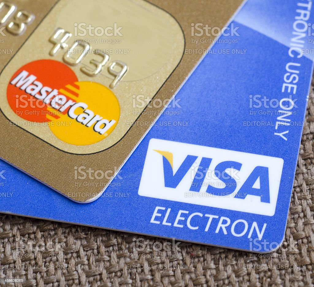Visa and maestro credit cards stock photo