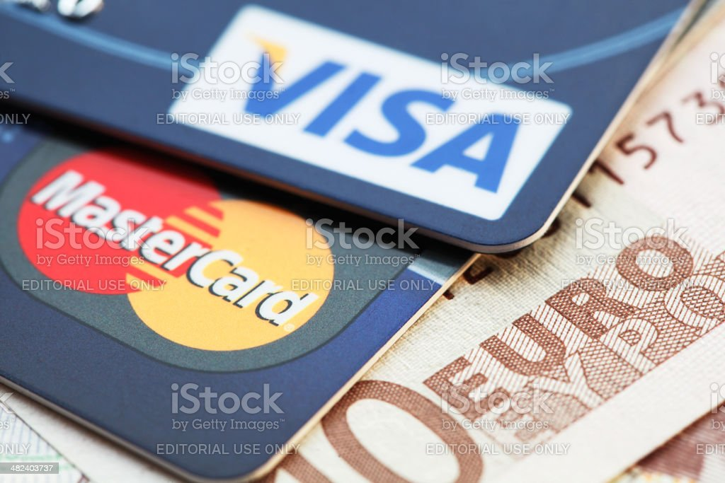 Visa and Mastercard credit cards on Euro banknotes stock photo