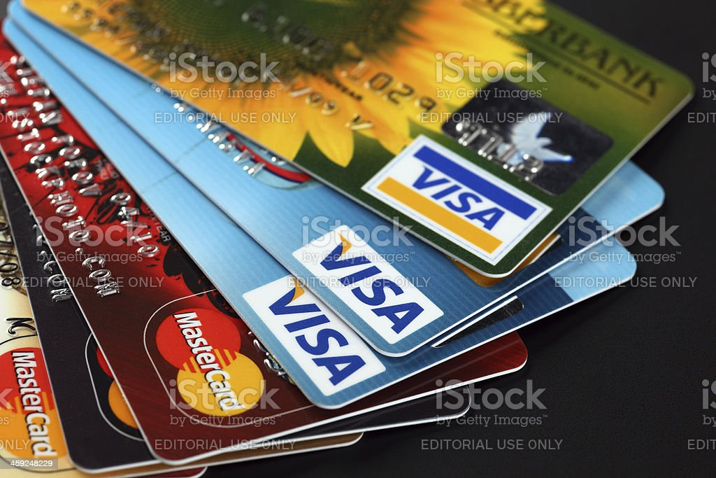 Visa and Mastercard stock photo