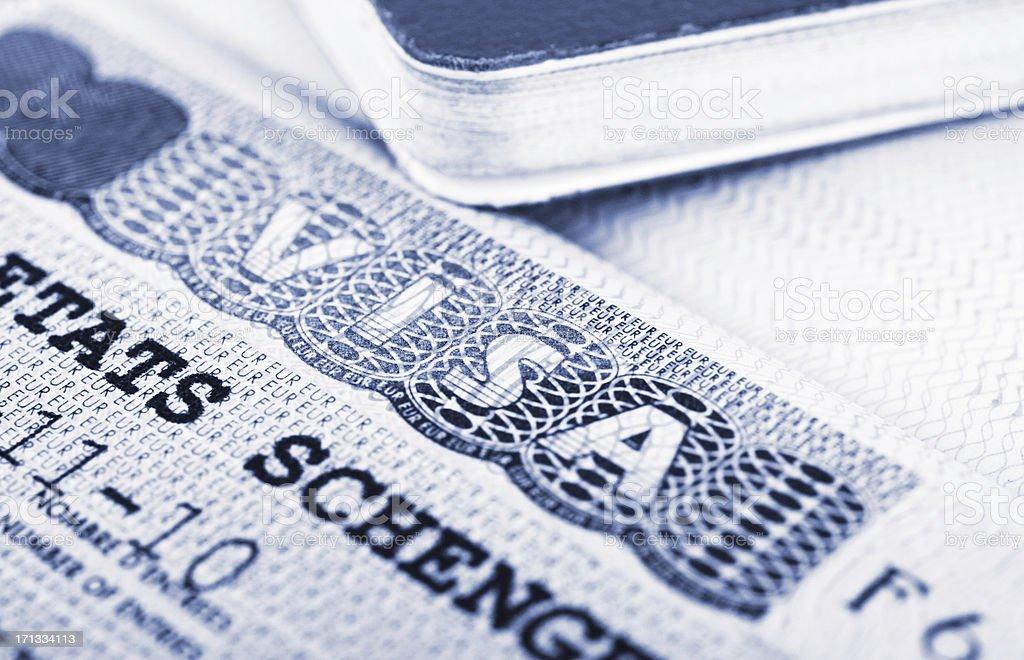 Visa and passport stock photo