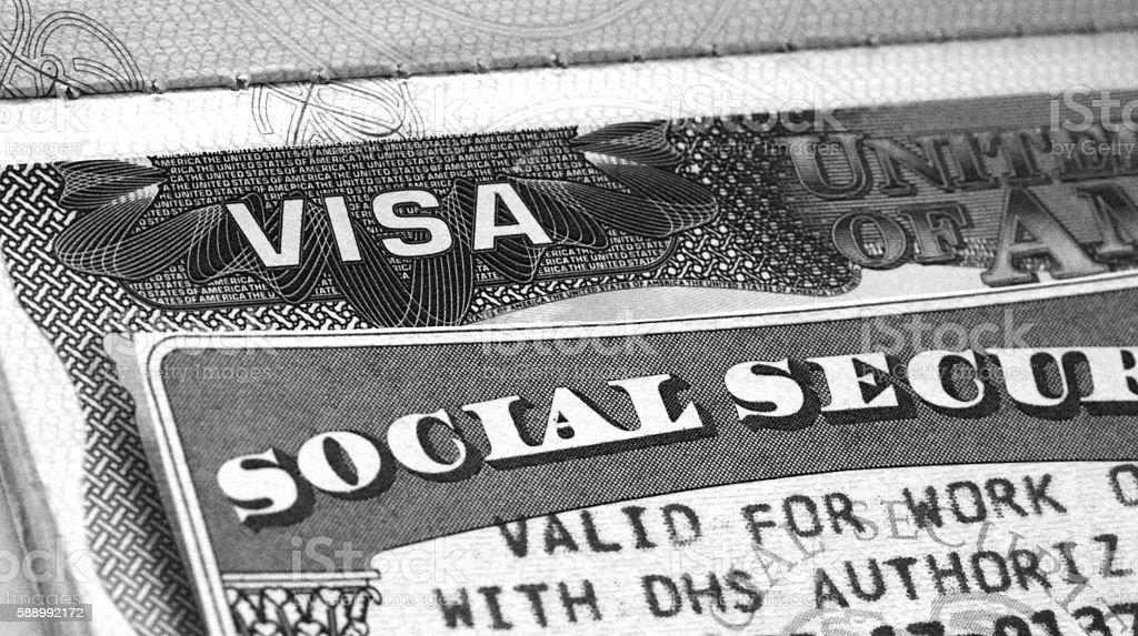 US Visa and Social Security Card stock photo