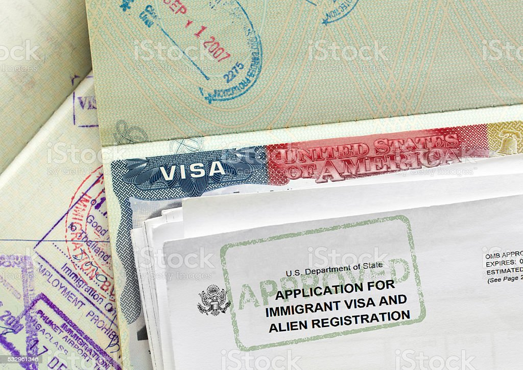 Visa application approval stock photo