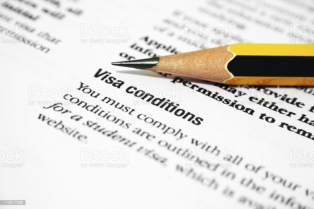 Visa conditions stock photo