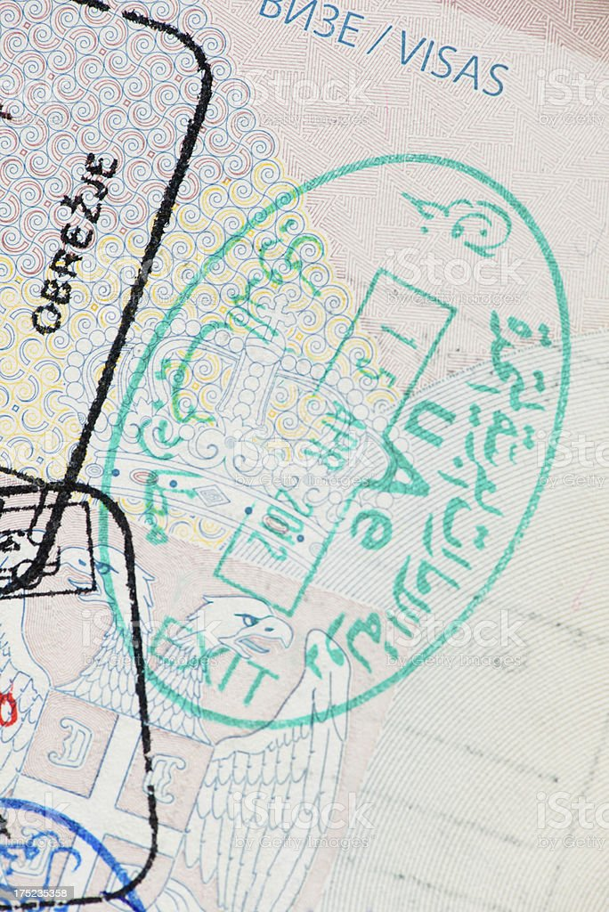 Visa customs stamp stock photo