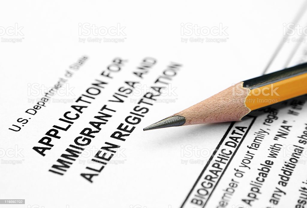 Visa form stock photo