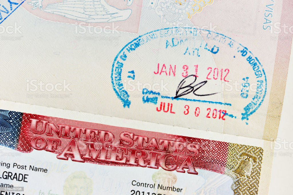 USA Visa Permit stock photo