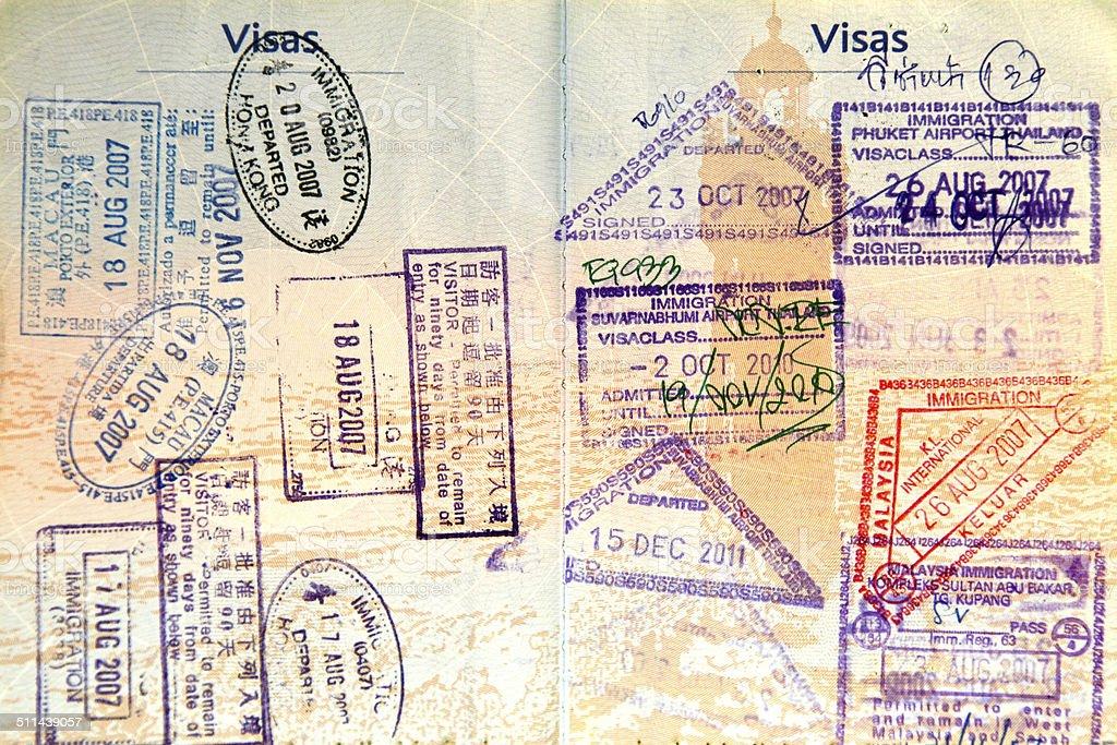 Visa stamps stock photo
