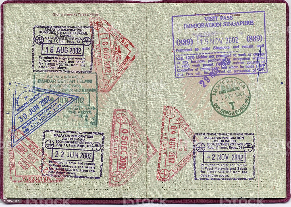 Visa stamps stock photo