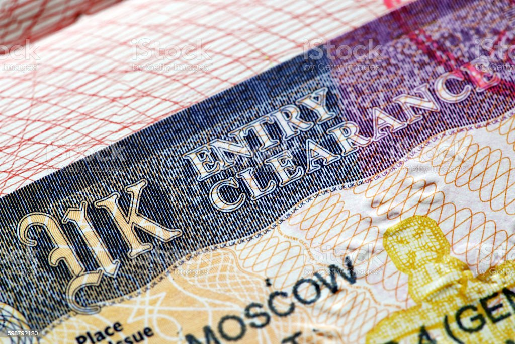 UK visas for students in passport stock photo