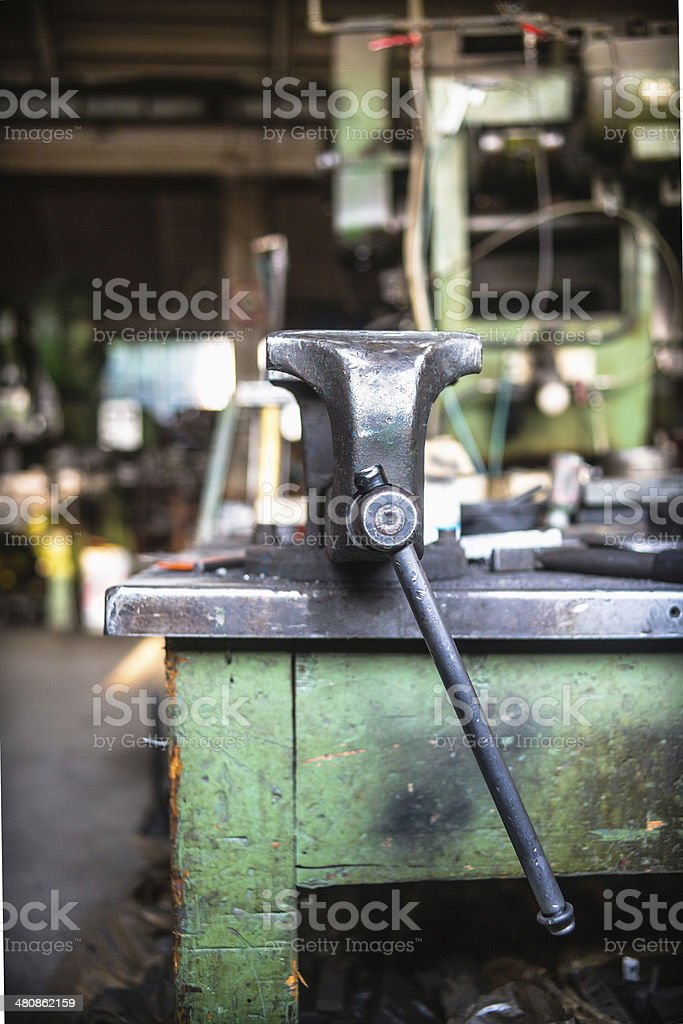 Vise Grip Work Table stock photo