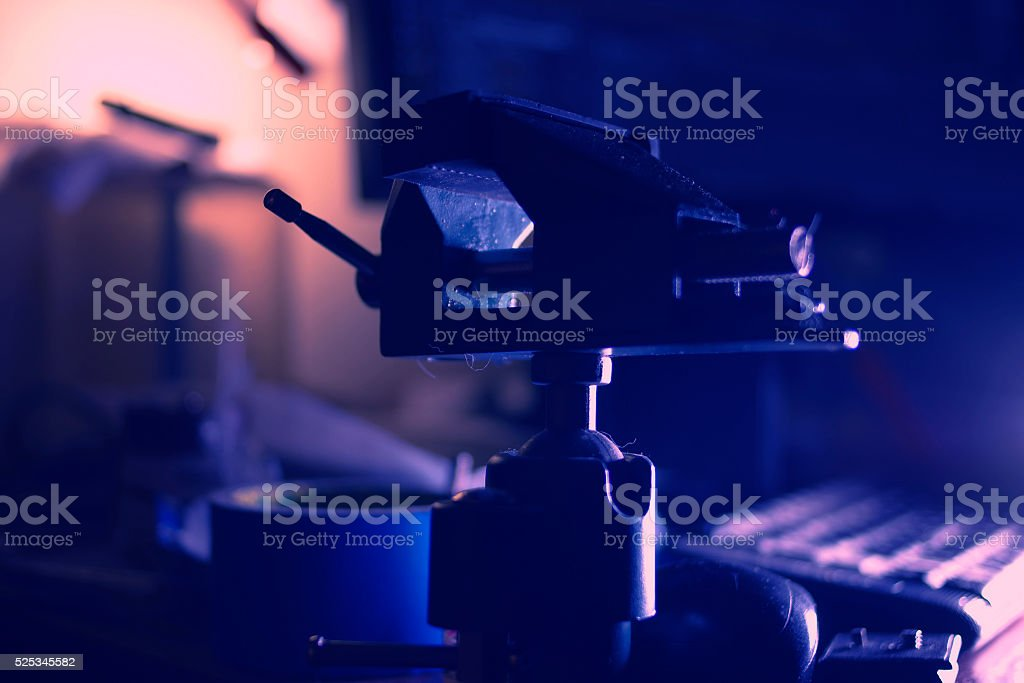Vise on table stock photo