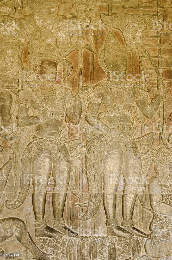 Vishnu and Rama Hindu Gods carving stock photo