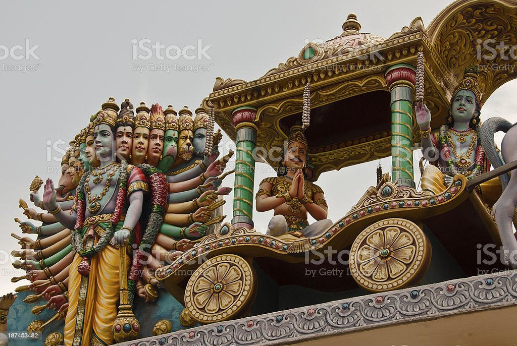 Vishnu detail, Sri Srinivasa Perumal Hindu Temple, Singapore royalty-free stock photo