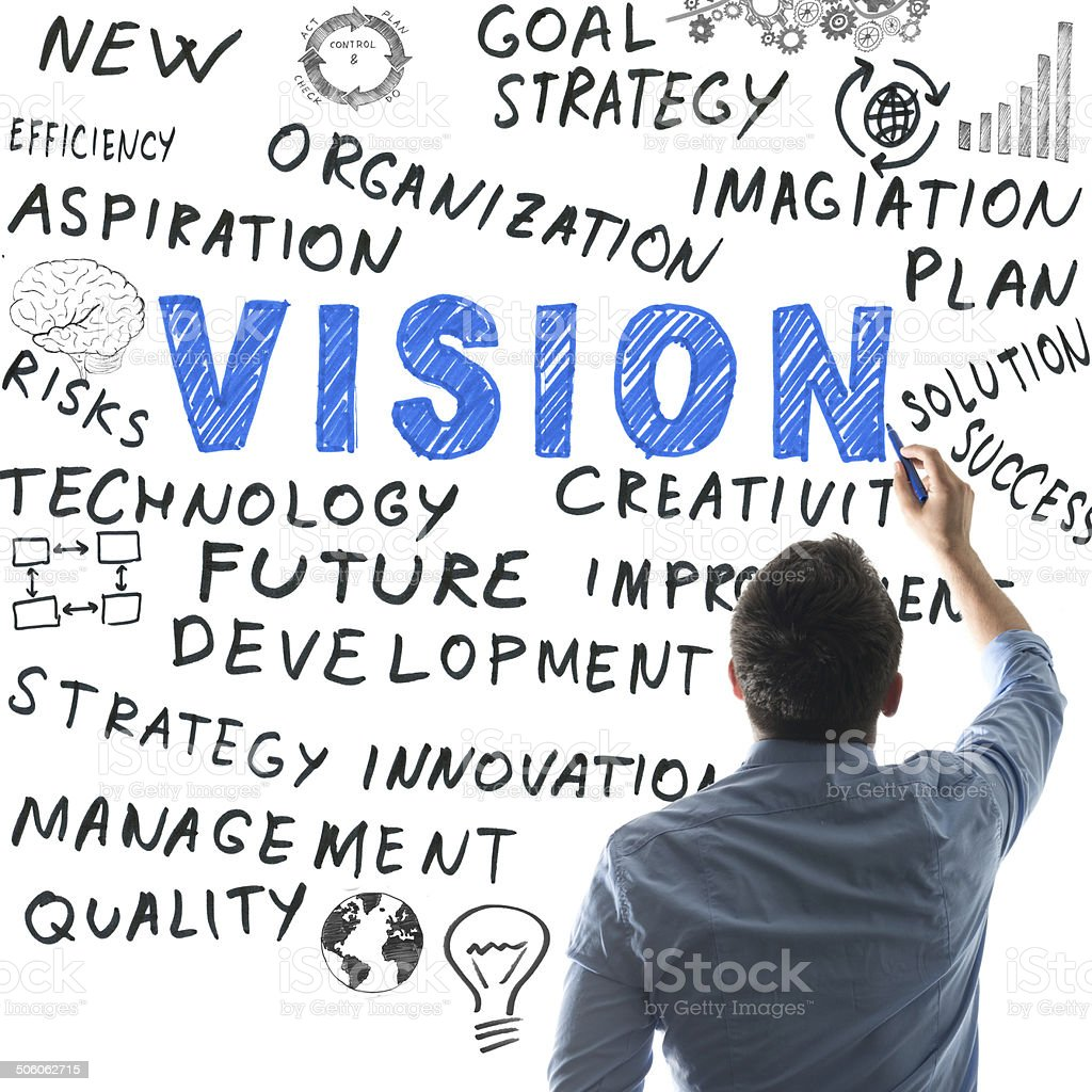 Vision and related words on whiteboard stock photo