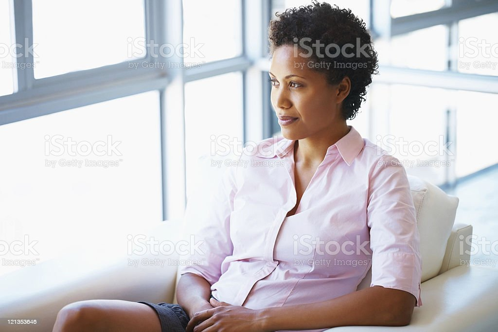 Vision - Businesswoman thinking royalty-free stock photo