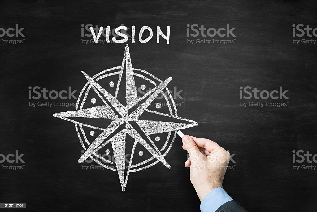 vision concept on blackboard stock photo