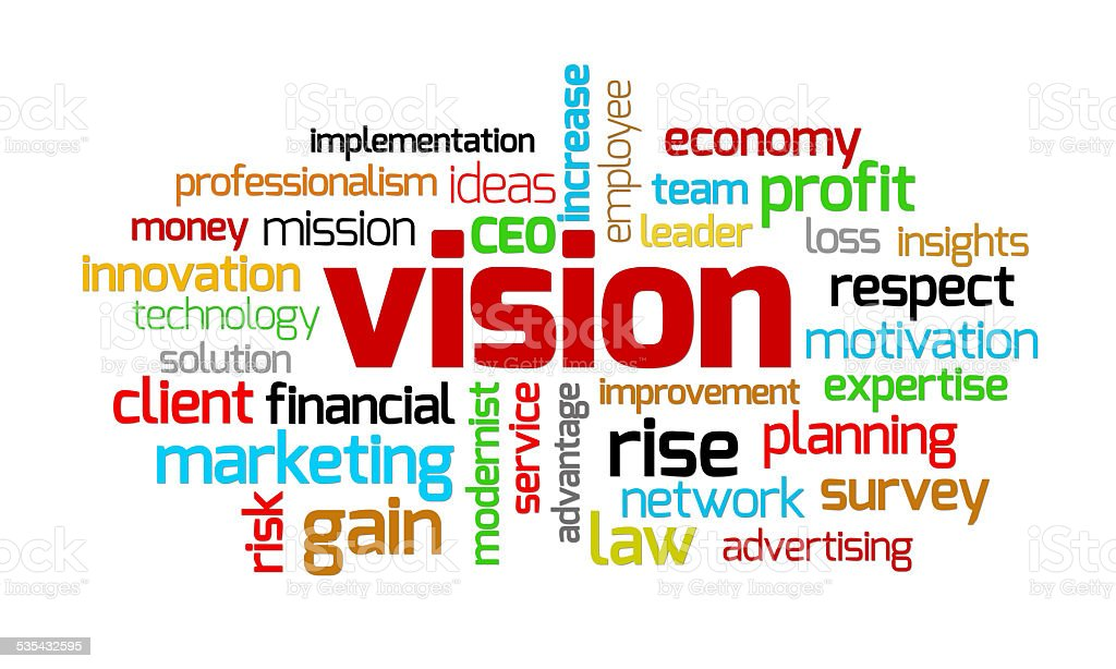 Vision keywords on isolated white stock photo