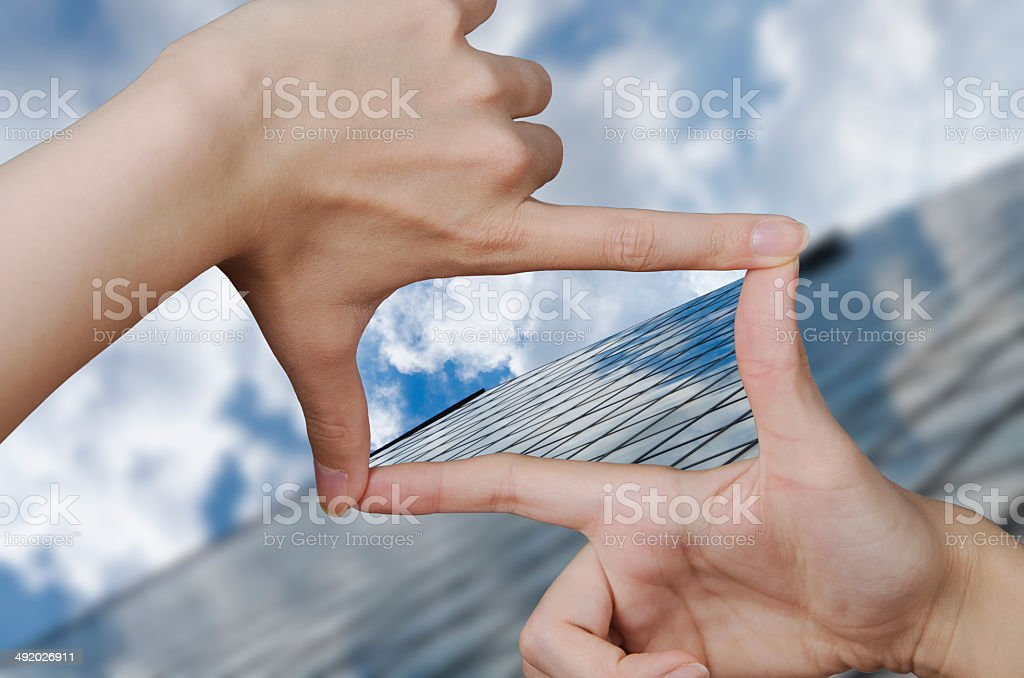 vision of a glass business building stock photo