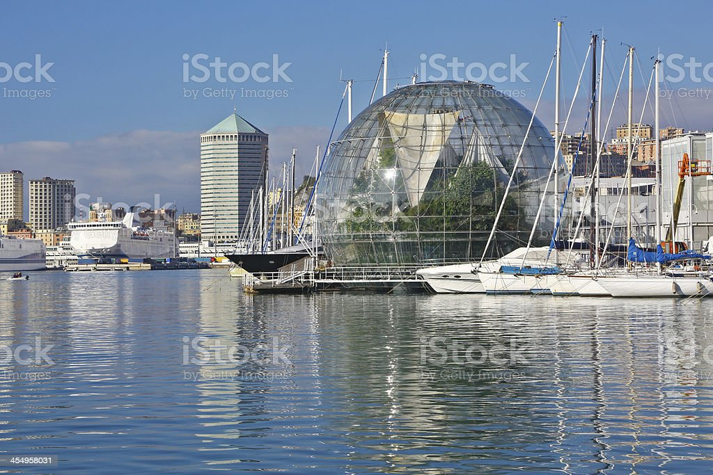 Vision of Genoa harbor stock photo
