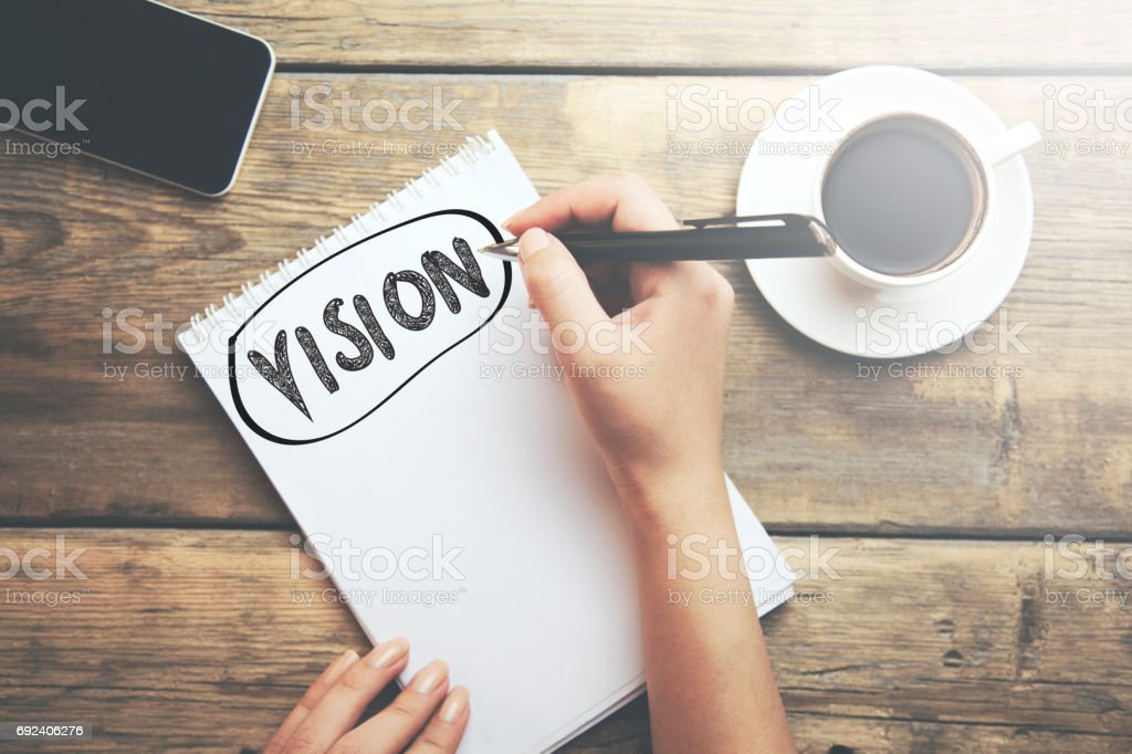 vision on notebook stock photo