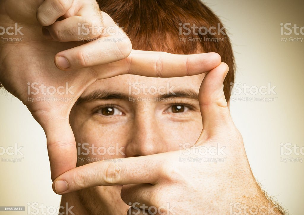 vision through the hands stock photo