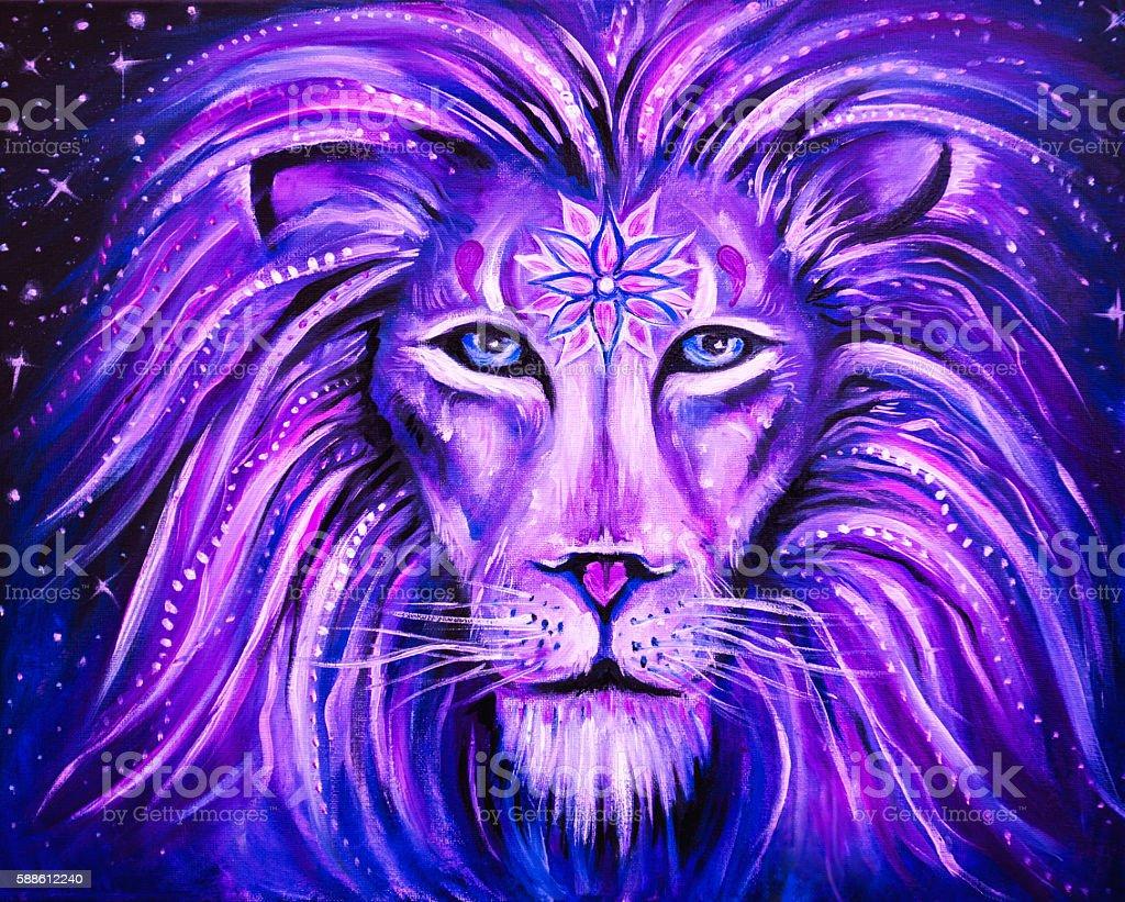 Visionary Art: Amethyst Lion With Third Eye Mandala stock photo