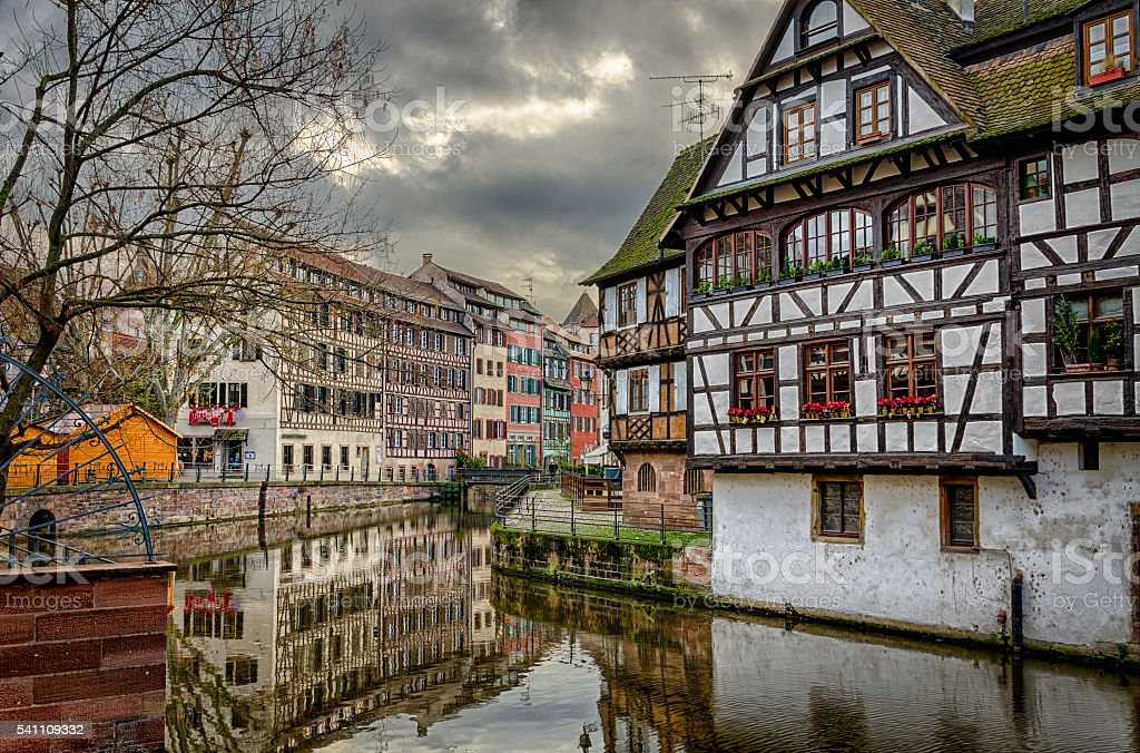 Visit card of Strasbourg Petite France in winter stock photo
